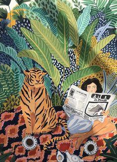 Boho Tapestry Wall Decor Cloth/ Jungle Tiger Girl – FortyOne Home Art Inspo, Kunst Inspo, Art And Illustration, Coffee Illustration, Art Illustrations, Creative Pictures, Creative Art, Jungle Art, Jungle Theme