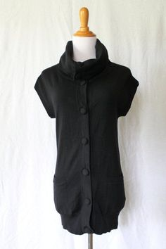 THEORY Warm Black 100% Merino wool Cap Sleeve Cowl Neck Cardigan Sweater Vest S #Theory #Cardigan
