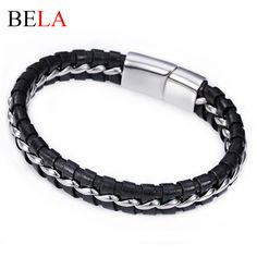 Genuine Leather Braided Bracelet Men Bangle With Stainless Steel Fashion New Jewelry Rock Chunky Leather Men's Bracelets MS4006