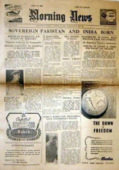 Morning News Newspaper 15 August 1947 - Happy Independence Day 2013