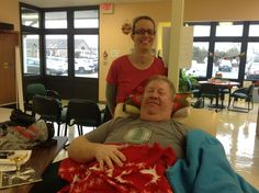 "Thanks to Rocky Brenner - the final donor of 2015 at the Springfield CBC! Beryl Boggess said, ""This is our last donor of 2015. We served him apple juice in a champaign glass! This was Rocky's 17th apheresis donation."