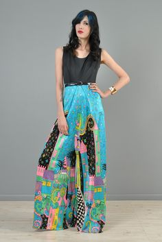 9ce65ae1f148 Psychedelic 1970s Rainbow Cityscape Jumpsuit | BUSTOWN MODERN Palazzo  Jumpsuit, Solid Black, Vintage Black