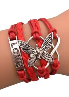 Lovely Butterflies Arm Party Bracelet in Red Butterfly Bracelet, Butterfly Jewelry, Cute Bracelets, Handmade Bracelets, Infinity Bracelets, Love Charms, Arm Party, Gifts For Friends, Bracelet Watch