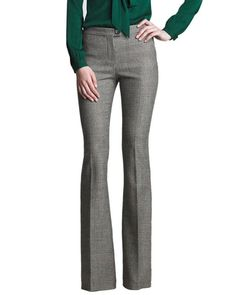 Elide Mid Rise Plaid Bell Bottom Wool Trousers, $239.00
