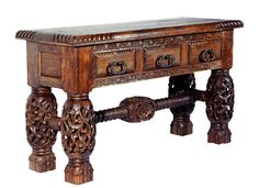 Hand-carved, Tuscany style rich Teak wood console table - 3 drawers