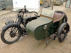 A 1924 classic AJS motorbike with side car