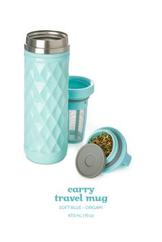 Steep calm and carry on with this light blue travel mug with a chic textured finish. Davids Tea, Cute Water Bottles, Aqua, Turquoise, Mad Hatter Tea, Travel Mugs, Tea Mugs, Design Patterns, Kitchen Tools
