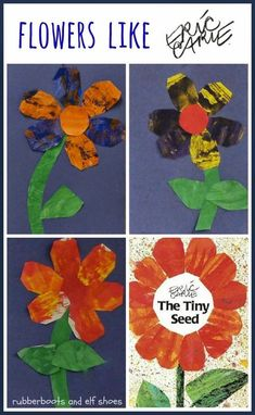 Eric Carle flowers activity for The Tiny Seed - One of our Springtime have-to-dos is planting seeds. When we plant seeds, we read books about seeds and plants and growing things. One of the books that we read is by one of our favourite authors, Eric Carle Eric Carle, Kindergarten Science, Preschool Crafts, Seeds Preschool, Bug Crafts, Preschool Books, Spring Activities, Art Activities, Tiny Seed Activities