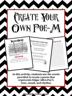 Create Your Own Poe-Esque Poem!   In this fun and dynamic activity, students will be able to create a poem that has Poe's classic tone and atmosphere. This resembles a magnetic poetry set with specific words in boxes that the students put down in the order they choose.