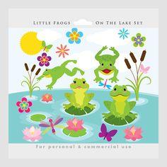 Imágenes Prediseñadas de ranas - ranas lindas clip arte, caprichosa, lirios, lago, agua, libélulas, flores, froggies, rana para uso personal y comercial