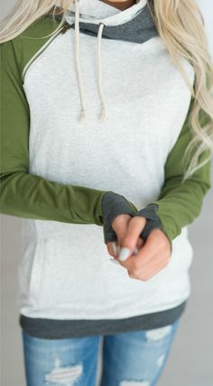 Olive Sleeved DoubleHood - love this sweatshirt