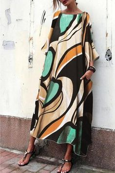 Baggy And Fashionable Print Maxi Dress – vacation outfit ideas,vacation wear,vacation clothes,outfit vacation,vacation fashion,summer vacation style,travel dresses summer,summer vacation clothes  #vacationdresses #stripeddressoutfit #vacationdressesbeach #vacationdressesmexico #vacationdressescasual #caribbean #beach #summer #boho #maxi #hawaii #streetstyle #fashion Chiffon Maxi Dress, White Maxi Dresses, Maxi Dress With Sleeves, Tee Dress, Casual Dresses, Long Dresses, Women's Dresses, Formal Dresses, Calf Length Dress