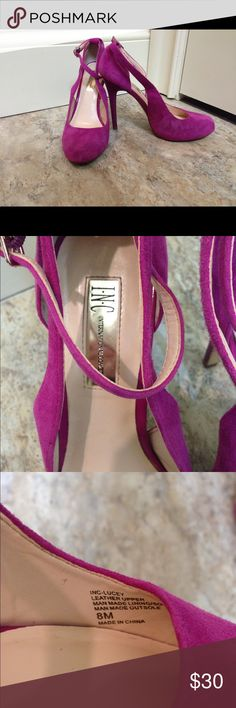 Pink suede heels by INC size 8 Great shoes, they were my prom heels. I've only worn them once but was dancing so they have som scuffing on the bottom as shown. They have a really nice ankle strap and are 4.5 in tall. INC International Concepts Shoes Heels
