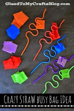 Crazy Straw {Busy Bag Idea} Color sorting and fine motor exercise for toddlers preschool pre-k nursery and childcare Toddler Busy Bags, Toddler Play, Toddler Learning, Fun Learning, Toddler Games, Quiet Time Activities, Motor Skills Activities, Preschool Activities, Dementia Activities