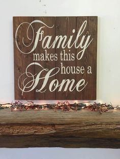 Family Makes This House A Home Pallet Sign Wood Wall Art Wood Wall Decor Mantel Decoration Photo Wall Sign Wedding Gift Housewarming Gift Recycled Pallets, Wooden Pallets, Wooden Diy, Wood Wall Decor, Wood Wall Art, Wood Walls, Room Decor, Diy Signs, Wall Signs