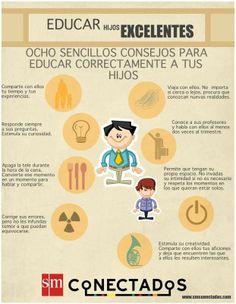 Compartimos la infografía del blog de la editorial SM Conectados, donde nos dan ocho recomendaciones a tener en cuenta a la hora de #educar a nuestros #hijos