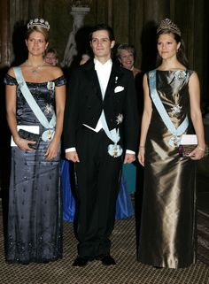 Princess Madeleine, Prince Carl-Philip and Crown princess Victoria at the Nobel-price festivities in 2005 - Dinner held by the King in honor of the the Nobel laureates.