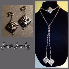 Silver Necklace/Belt and earrings