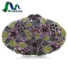 59.99$  Buy now - http://alirza.shopchina.info/go.php?t=32809657610 - Milisente Luxury Women Floral Leave Pattern Party Clutch Purse Egg Shape Hard case Crystal Evening Bag Handbag Small Size   #buyonlinewebsite