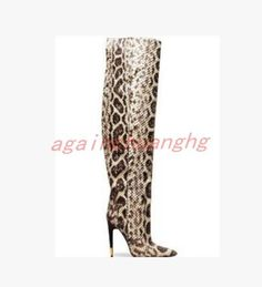 1e94b10dee55 Womens Snake Printed Leather High Heel Pointy Toe Stiletto Shoes Sexy Knee  Boots  Unbranded