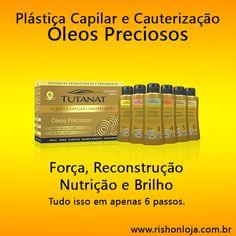 Plástica Capilar e Cauterização Óleos Preciosos, contém 7 óleos preciosos que irão hidratar e fortalecer os seus cabelos.