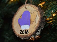 Wood slice ornament, 2016  ornament, hand painted ornament, rustic ornament, wood ornament, Christmas ornament, tree branch ornament by Artfulcastle on Etsy
