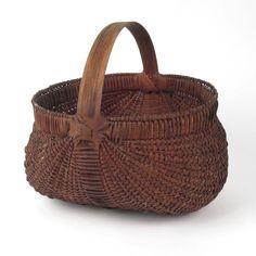 Vtg buttocks basket woven splint Coker Creek Crafts TN egg gathering Southern #primitives #baskets