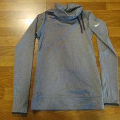 Nike Pro Dri Fit Running Jacket Super cute form fitting Nike running jacket! It has a cowl neck with ties and  thumb holes to add to the style of this jacket. It is in great condition with no stains, tears, etc. ??NO TRADES?? Nike Jackets & Coats