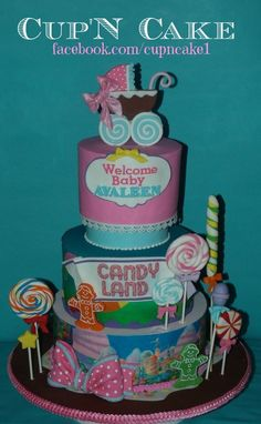 Candy Land Baby Shower Cake Here is a cake I made for a candy land themed baby shower :) Baby Shower Candy, Baby Shower Themes, Shower Ideas, Candy Cakes, Cupcake Cakes, Cupcakes, Candy Land Theme, Girl Themes, Welcome Baby