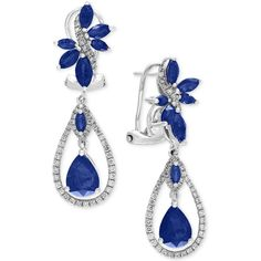Effy Royal Bleu Sapphire (4-3/4 ct. t.w.) and Diamond (5/8 ct. t.w.)... ($3,960) ❤ liked on Polyvore featuring jewelry, earrings, blue, 14k white gold earrings, blue sapphire earrings, 14k earrings, diamond earrings and 14 karat gold earrings