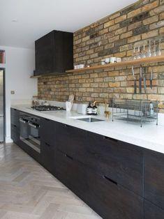 Dark modern kitchen with no upper cabinets Amy's Kitchen, Basement Kitchen, Kitchen Layout, Kitchen Decor, Kitchen Cabinets, Kitchen Ideas, Kitchen Inspiration, Room Inspiration, Modern Kitchen Design