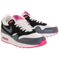 Nike Air Max 1 (l) ($55) ❤ liked on Polyvore featuring shoes, sneakers, white dark army blue pink, pink shoes, blue leather sneakers, white trainers, pink sneakers and white leather shoes