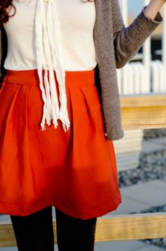 A saffron colored Saffron pleated skirt by peneloping