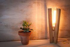 Wood table vintage edison lamp wood lamp industrial от EunaDesigns