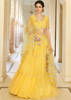 #yellow #net #lehenga #choli #designs # traditional #indian #outfits #gorgeous #bridesmaid #dresses #wedding #looks #ootd #new #arrival #womenswear #online #shopping