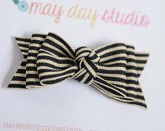 black and cream striped ribbon | ... black/cream stripe boutique bow on black ribbon covered alligator hair