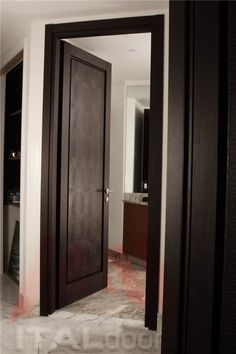 Powder Room Entry Door in Wenge/Crocodile Textile