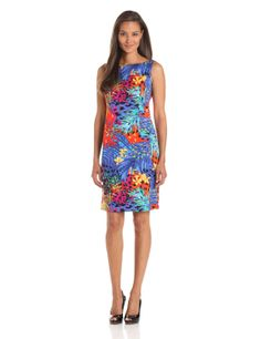 Jones New York Women's Boat Neck Tropical Print Dress           ($31.84)