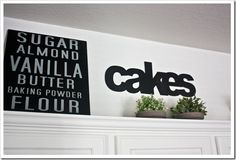 Decorating above kitchen cabinets using words or write out favorite recipe on canvas