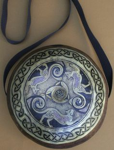 Gourd Art purses pyrography and inlay