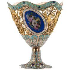 Century Rare Swiss Gold and Enamel Zarf, Ottoman Market, circa 1830 Vase Shapes, Antique Market, Gold Filigree, White Enamel, Rare Antique, Decorative Objects, Metal Working, 19th Century, Antiques