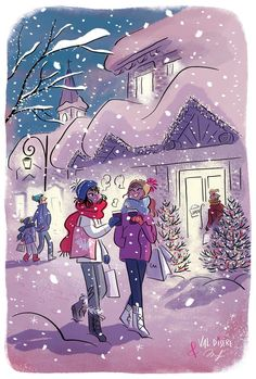 Snow and Friendship / Snow and Friendship - Art by Magalie Foutrier - Christmas Drawings 🎅 Illustration Mignonne, Illustration Noel, Christmas Illustration, Illustrations, Christmas Drawing, Christmas Art, Friendship Art, Buch Design, Christmas Wallpaper