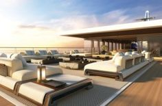 The concept NATURE by Sinot Exclusive Yacht Design comes with a 900 sqm panorama deck, an own garden and a spectacular bach club. Interior And Exterior, Interior Design, Yacht Interior, Outdoor Spaces, Outdoor Decor, Glass Facades, Yacht Design, Luxury Yachts, Luxury Cars