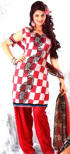Exotic India Ivory and Red Salwar Kameez with Printed Paisleys and Checks –  Ivory 2245b7118