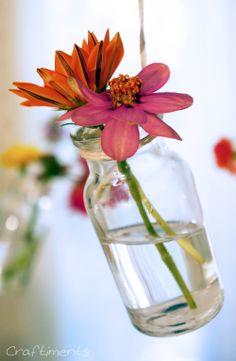 Craftiments: DIY hanging chandelier bud vases