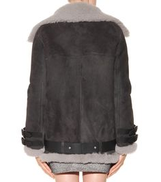 Grey shearling-lined leather jacket
