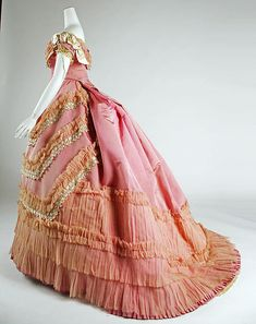 Ball gown - Ball gown Date: ca. 1868 Culture: French Medium: silk Dimensions: Length at CB (a): 13 in. (33 cm) Length (b): 58 in. (147.3 cm) Credit Line: Gift of Mary Pierrepont Beckwith, 1969