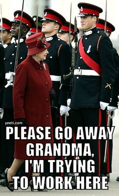 This is actually kinda adorable. It looks like he's trying really hard not to smile at his grandma while at attention.