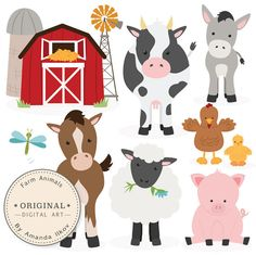 This is a set of 11 farm animal / barnyard animal images, professionally drawn by me. Includes horse clipart, cow clipart, donkey clipart, pig