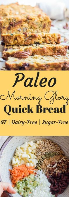 Paleo Morning Glory Quick Bread - A paleo breakfast bread loaded with fruits and vegetables, nuts and seeds. So yummy and so good for you! | abraskitchen.com #steviva #monksweet